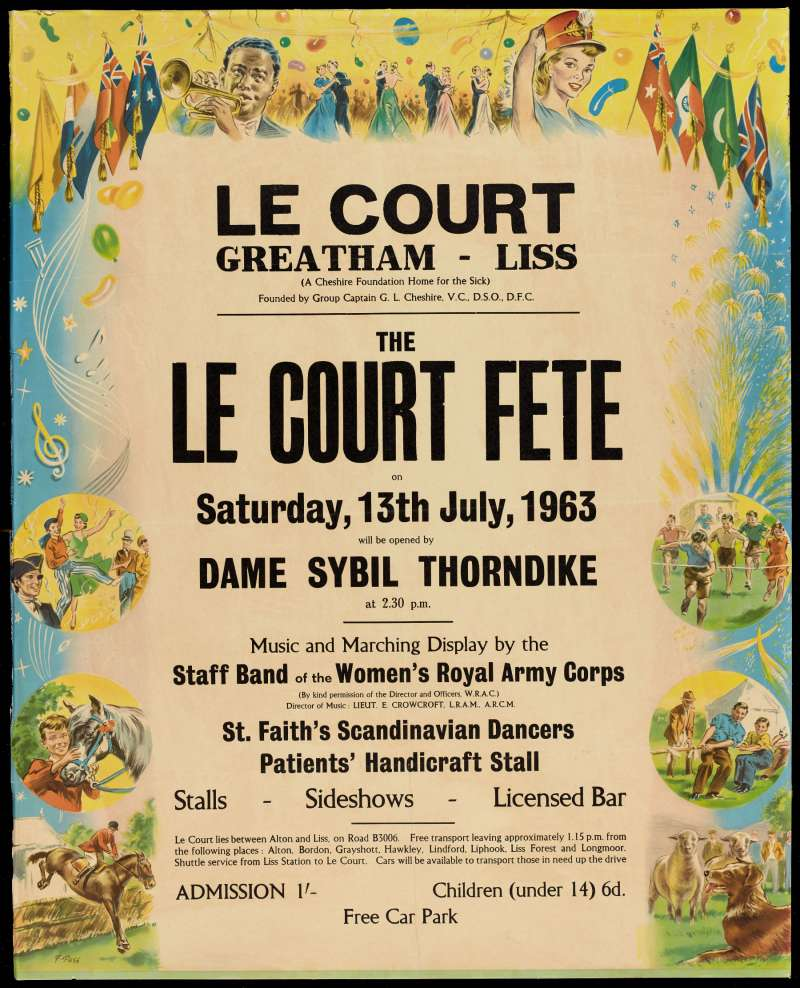 Colourful poster with text details and cartoons advertising activities at a fete at Le Court Cheshire Home