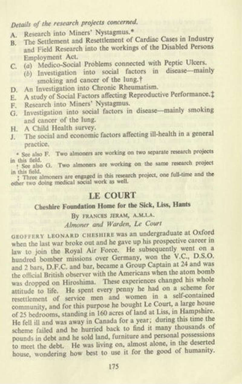 Article by Frances Jeram in the Institute of Medical Social Workers Journal July 1951