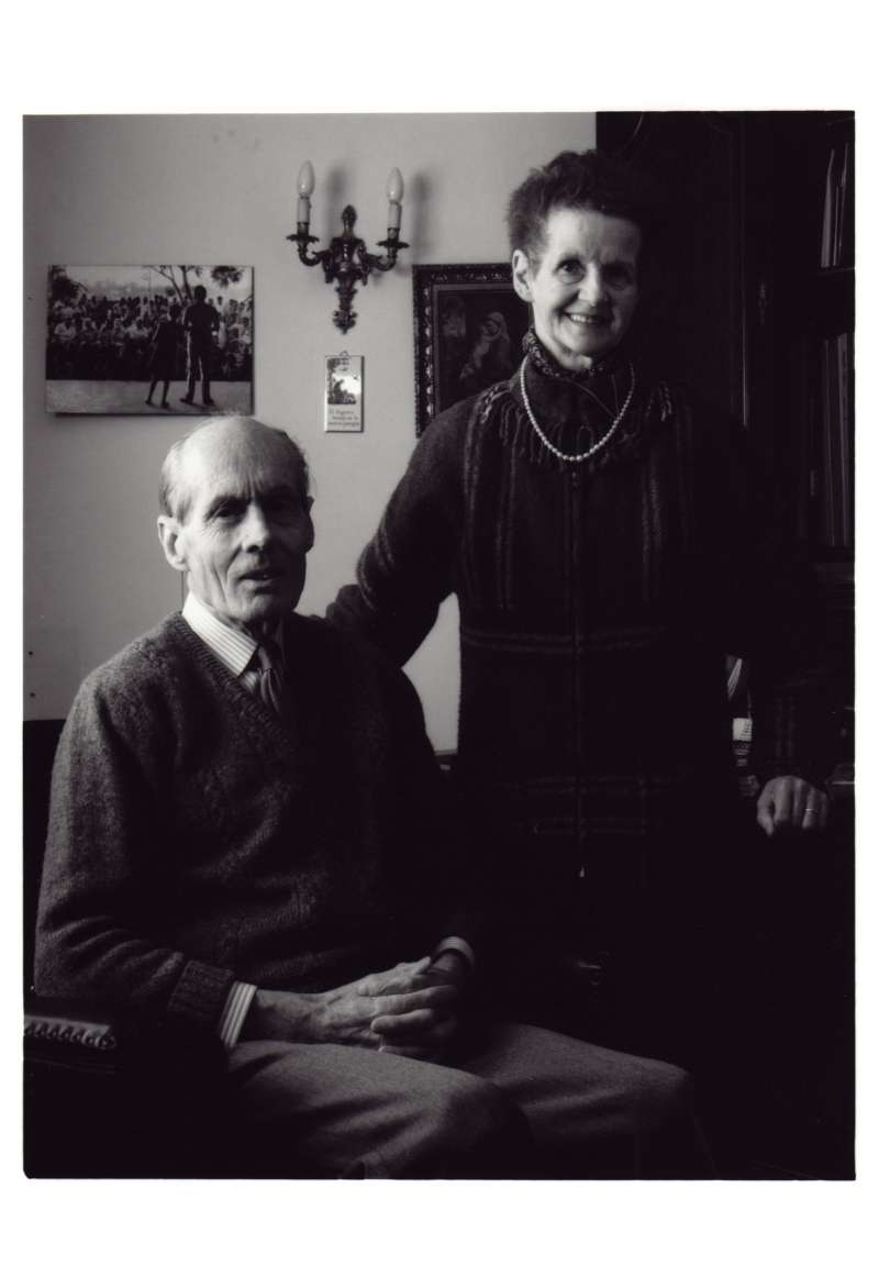 A posed shot of Leonard and Sue in the office at their Cavendish home