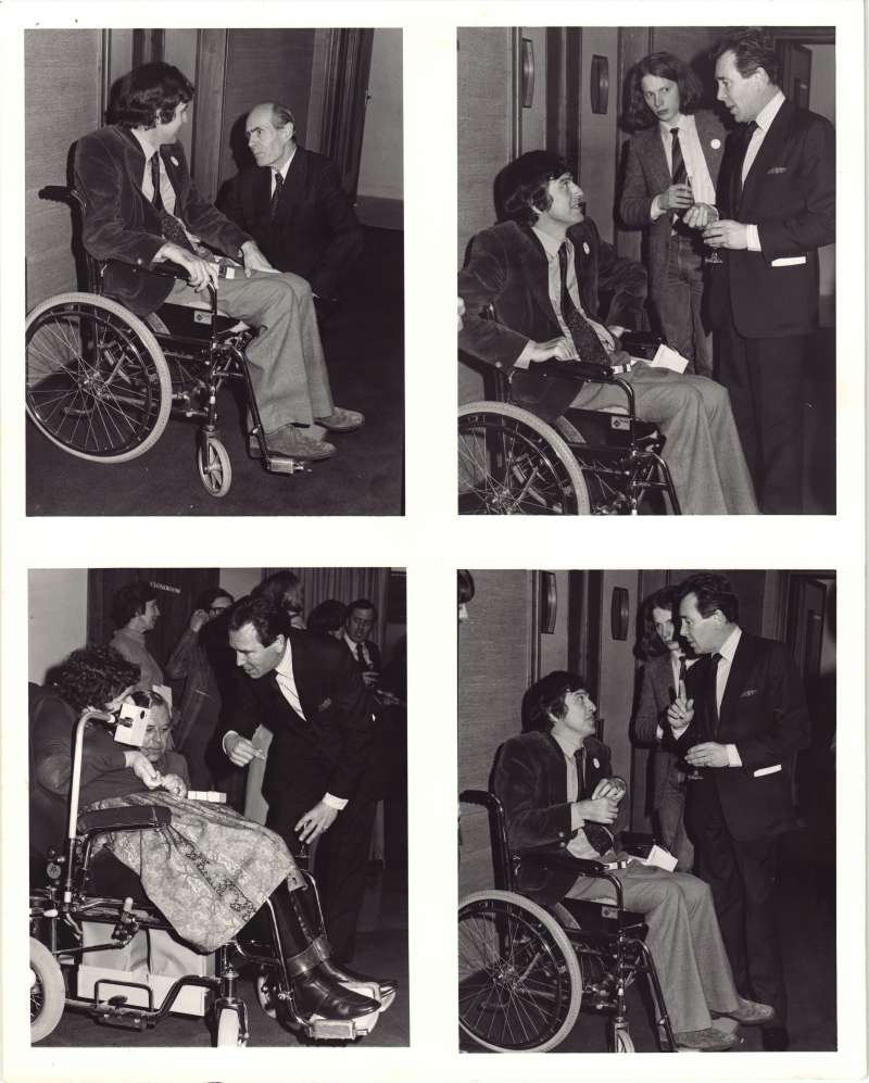 Series of 4 photos with Lord Snowdon talking to several people in wheelchairs