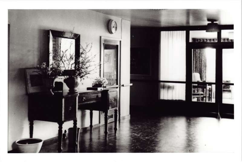 Photo showing the entrance hall at the new Le Court, with a sideboard covered in vases with plants