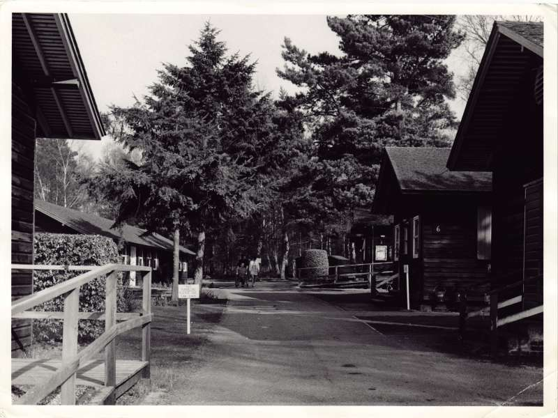 Photo of a driveway between wooden hut-style buildings with a man in wheelchair and woman in the distance