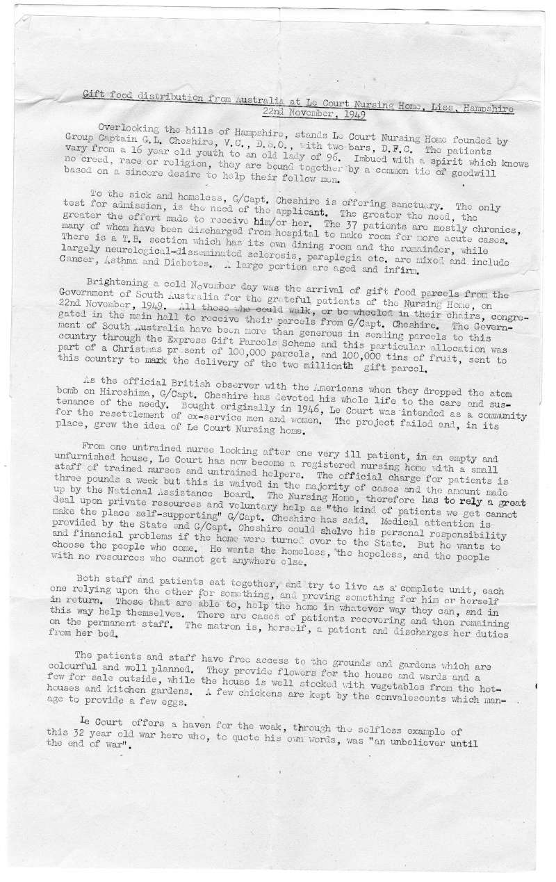 A hand-typed letter detailing why a food parcel was sent to Le Court Nursing Home in November 1949