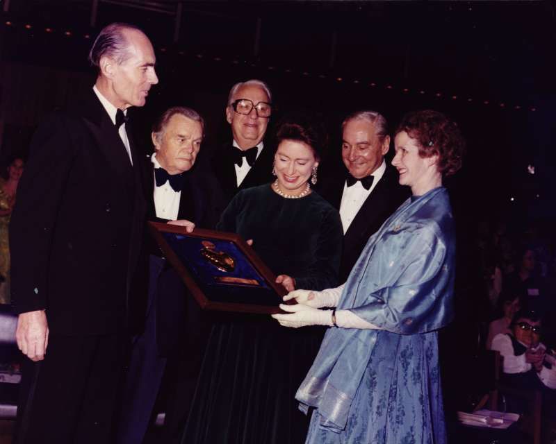 Leonard and Sue receiving an award from Princess Margaret