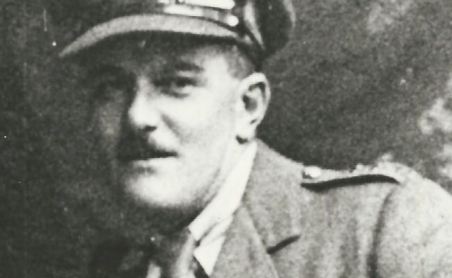 Close up of Arthur Dykes in military uniform