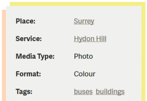 Example image of an item information box showing tags